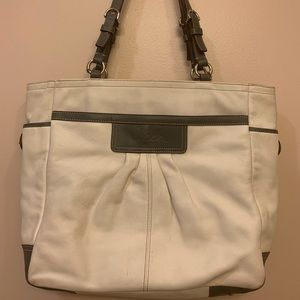 White leather Coach Tote